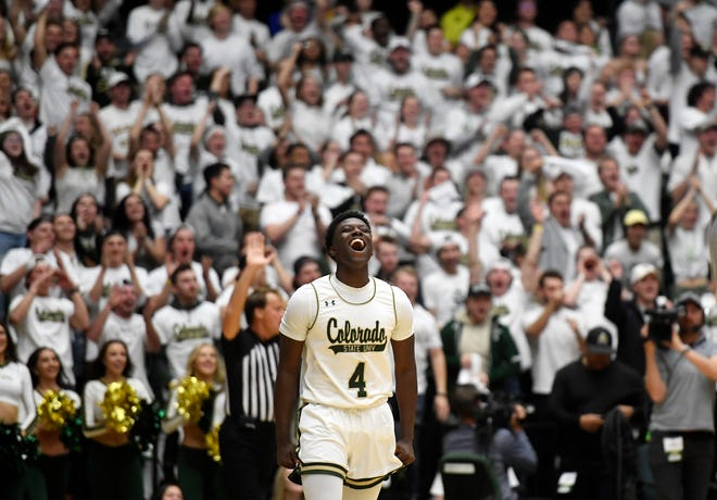 Colorado State Rams guard Isaiah Stevens (4) reacts after scoring a point in the second half of the basketball game at Colorado State University in Fort Collins, Colo. on Friday, Dec. 13, 2019.