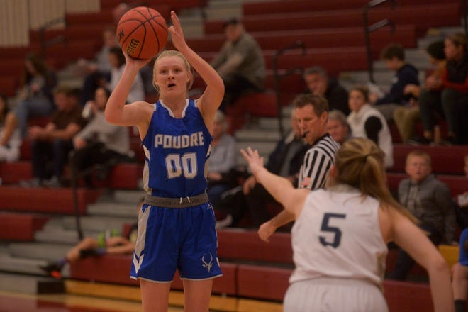 Poudre girls basketball player Brooke Bohlender takes a shot during a game in the Battle of the Rockies tournament against Liberty Common on Saturday, Dec. 14, 2019 at Rocky Mountain.