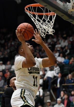 Colorado State Rams forward Dischon Thomas (11) goes for a lay up in the first half of the basketball game at Colorado State University in Fort Collins, Colo. on Friday, Dec. 13, 2019.