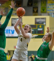 CMR's Chloe Pace shoots in Friday's basketball game against Glacier.
