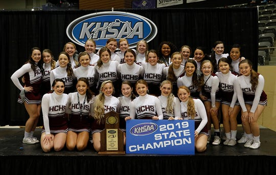 Henderson County's cheerleaders won the state championship in the Game Day division of the KHSAA competitive cheer championships Saturday at the Kentucky Horse Park's Alltech Arena in Lexington.