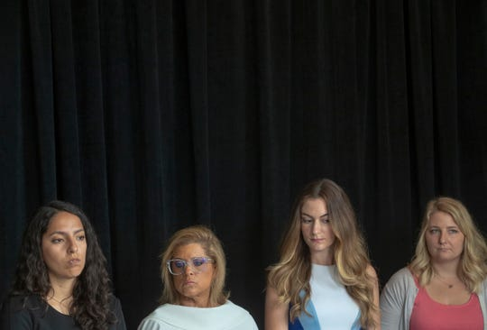 Samantha Lozano (left), Mara Candelaria Reardon, Niki DaSilva, and Gabrielle McLemore are plaintiffs in a lawsuit filed against the State of Indiana and Curtis Hill, Indiana Attorney General, Indianapolis, Tuesday, June 18, 2019. The several-faceted lawsuit includes alleged sexual harassment, gender discrimination, and retaliation for reporting these situations.
