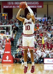 Indiana Hoosiers guard Rob Phinisee (10) makes a three-pointer during the game against Nebraska at Simon Skjodt Assembly Hall in Bloomington, Ind., on Friday, Dec. 13, 2019.