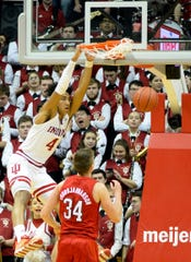 Indiana Hoosiers forward Trayce Jackson-Davis (4) dunks the ball during the game against Nebraska at Simon Skjodt Assembly Hall in Bloomington, Ind., on Friday, Dec. 13, 2019.