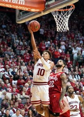 Indiana Hoosiers guard Rob Phinisee (10) makes a layup during the game against Nebraska at Simon Skjodt Assembly Hall in Bloomington, Ind., on Friday, Dec. 13, 2019.