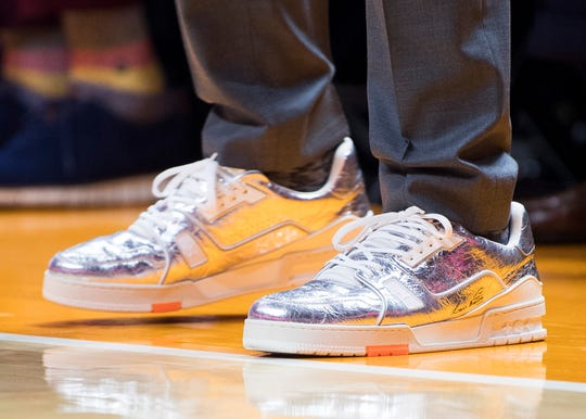 Memphis head coach Penny Hardaway's shoes during a basketball game between Tennessee and Memphis at Thompson-Boling Arena in Knoxville, Tenn., on Saturday, December 14, 2019.