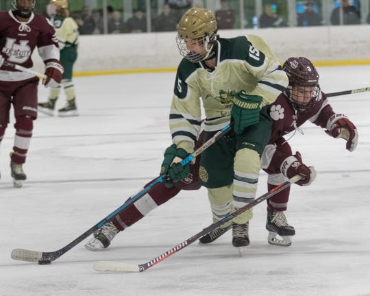 Chad Keifer of Howell works the puck against Detroit U-D Jesuit in a 4-1 loss on Saturday, Dec. 14, 2019.