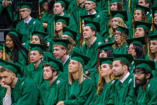 MSU graduation students listen to the keynote speaker at the MSU Fall 2019 Commencement Saturday, Dec. 14, 2019.