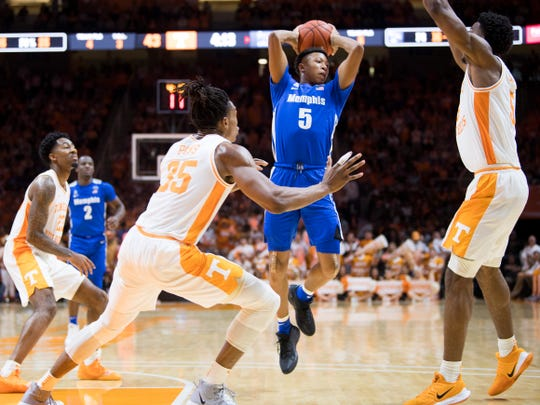 Memphis guard Boogie Ellis (5) passes the ball to a teammate during a basketball game between Tennessee and Memphis at Thompson-Boling Arena in Knoxville, Tenn., on Saturday, December 14, 2019.