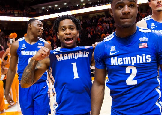 Memphis guard Tyler Harris (1) celebrates after defeating Tennessee 51-47 at Thompson-Boling Arena in Knoxville, Tenn., on Saturday, December 14, 2019.