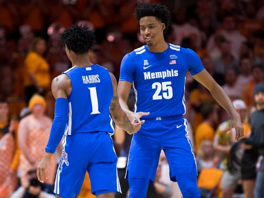 Memphis guard Tyler Harris (1) and Memphis guard Jayden Hardaway (25) high five each other during a basketball game between Tennessee and Memphis at Thompson-Boling Arena in Knoxville, Tenn., on Saturday, December 14, 2019.