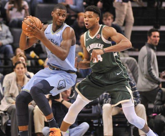Memphis Grizzlies forward Jaren Jackson Jr. Giannis Antetokounmpo and the Bucks Friday night.