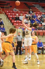Mountain Home's Kate Gilbert puts up a shot during recent action at Branson, Mo. The Lady Bombers advanced to the finals of the Cabot tournament with a 39-19 victory over Mount St. Mary's on Friday night.