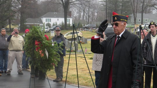 Wreaths Across America ceremony at Holy Rood Cemetery, Morris Township. December 14, 2019.