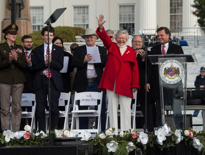 Gov. Kay Ivey acknowledges the crowd during the Bicentennial Park unveiling in Montgomery, Ala., on Saturday, Dec. 14, 2019.