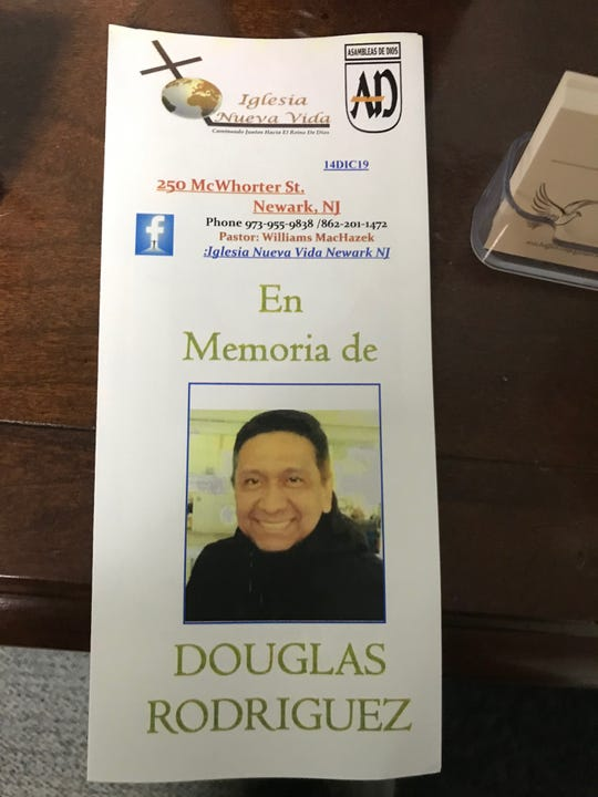 The program from the memorial service Saturday for Douglas Miguel Rodriguez Barzola, the Ecuadorian immigrant who died Dec. 10, one of the victims killed during a shootout at a kosher store in Jersey City.