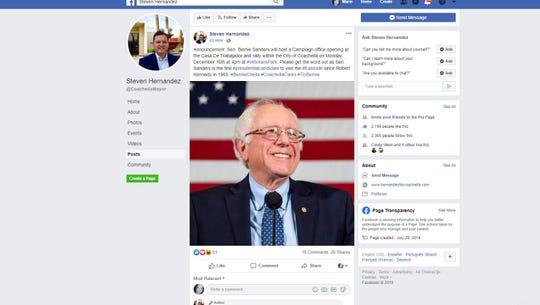 A screenshot of Coachella Mayor Steven Hernandez's Facebook post  Saturday about a visit by Sen. Bernie Sanders, a Democratic presidential contender, to Coachella on Monday, Dec. 16, 2019.