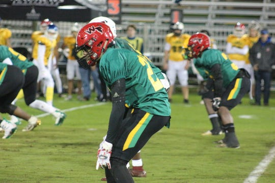 West Florida's Donte Thompson lines up in the Subway High School All-Star Game at Blue Wahoos Stadium on Dec. 13, 2019.