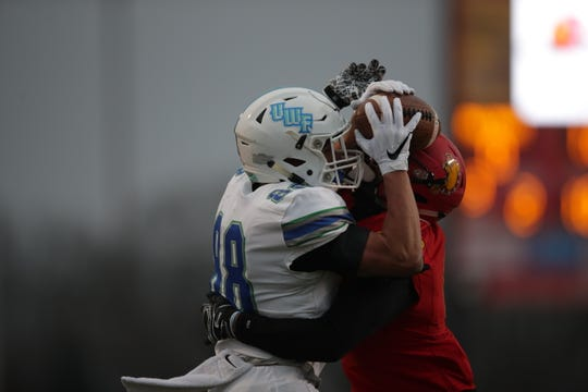 UWF receiver Tate Lehtio catches a touchdown in the Argos' Final Four contest at Ferris State on Dec. 14, 2019.