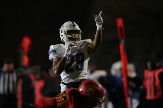 Quentin Randolphs celebrates a touchdown in UWF's Final Four win over Ferris State on Dec. 14, 2019.