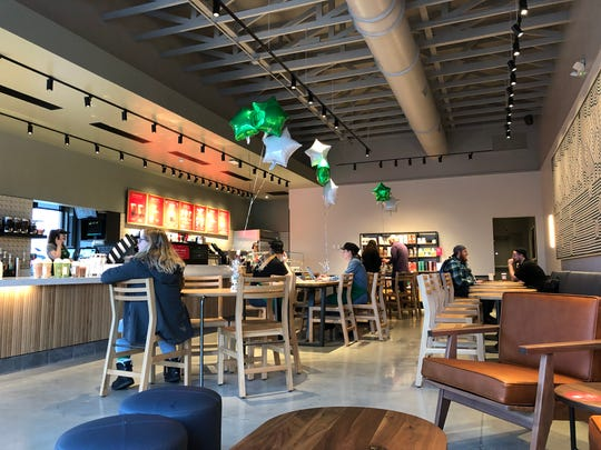 Inside the first Starbucks in Lebanon, which has plenty of seating to go with its coffee- and tea-based beverages and food offerings.