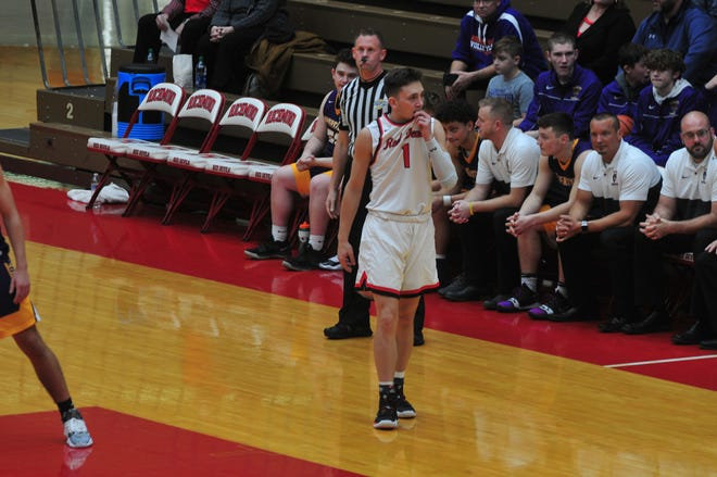Andrew Kroft (1) scored a season-high 22 points but Richmond fell 81-66 to Marion in its North Central Conference opener on Friday night.