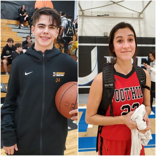 Tannor DeWitt of Enterprise (left) and Isa Padilla of Foothill (right) were named Athlete of the Week for the period of Dec. 3 through Dec. 10.