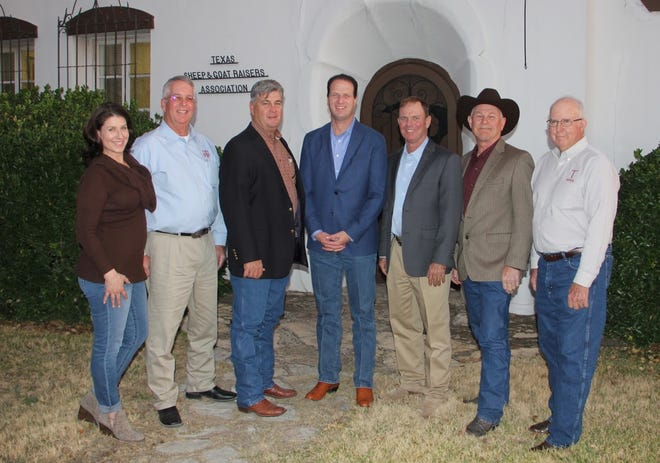 Texas Sheep and Goat Raisers Association has announced its endorsement of Lt. Col. August Pfluger. Pictured are, from left: Victoria Powers (Executive Secretary), Curry Campbell (Second Vice President), Jim Perry(First Vice President), August Pfluger, Jason Bannowsky(President), Benny Cox (American Sheep Industry President) and Tommy Head (Immediate Past President).