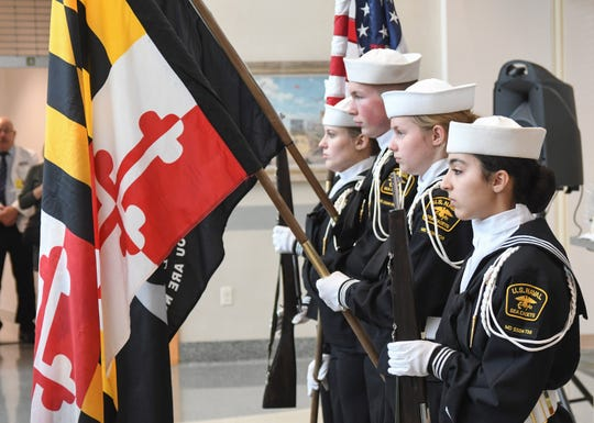 Sea Cadets present the Colors at the commissioning ceremony of Lt. j.g. Christopher DiPasqua on Saturday, Dec. 14, 2019, at Peninsula Regional Medical Center. His daughter, Zoey DiPasaua, is at right.