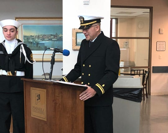 Chris DiPasqua, practicing at PRMC since 2007, was officiallycommissioned as an officer, Lieutenant Junior Grade, O-2, in the United States Navy, at Peninsula Regional Medical Center on Dec. 14, 2019.