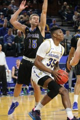 Doug Wilson looks for a shot Friday in SDSU's win over UNK