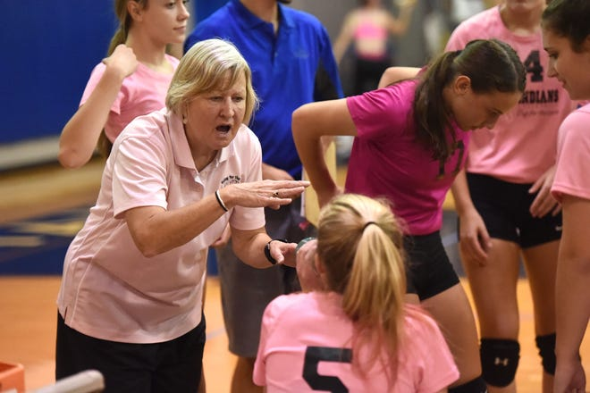Sue Leonard talks to her players on the bench during a timeout earlier this season.