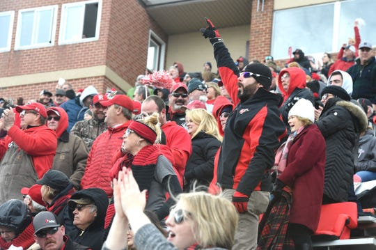 Riverheads fans celebrate a touchdown in the Class 1 state football championship in Salem Saturday, December 14.
