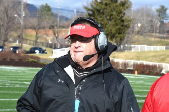 Riverheads coach Robert Casto on the sidelines in the Class 1 state football championship in Salem Saturday, December 14.