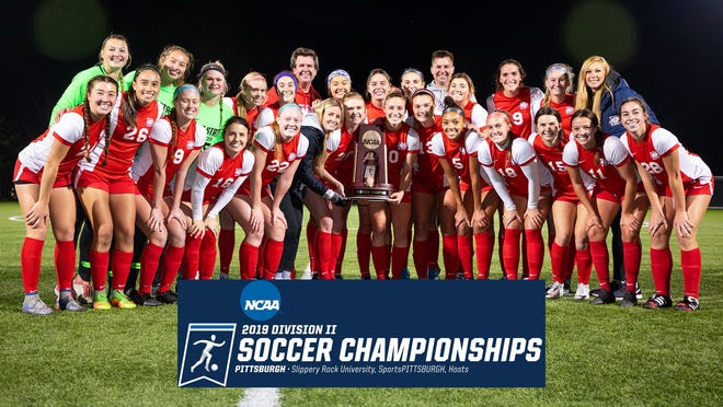 The Dixie State womens soccer team poses after beating No. 9 Dallas Baptist 2-1.