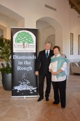 Camp Haven Board President Brian Korkus, left, and Diamonds in the Rough Event Chair Linda Teetz.