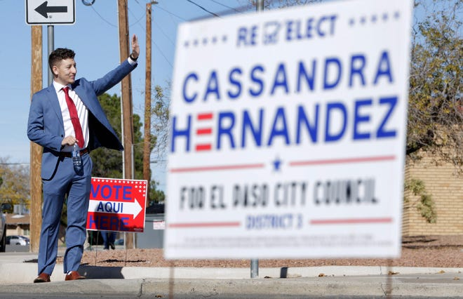 Will Veliz campaigns Saturday, Dec. 14, 2019, outside Fire Station 20 on Edgemere Boulevard on election day as he sought the District 3 city representative seat against incumbent Cassandra Hernandez. He narrowly lost, but vows to run for office again in November 2020.