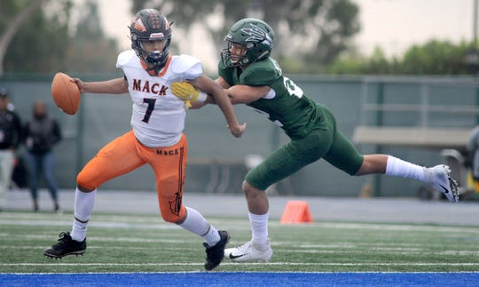 Pacifica's Caleb McCullough, right, was named the Defensive Player of the Year for Division 6.