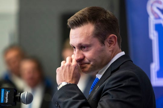 Memphis head football coach Ryan Silverfield speaks at a news conference Friday.