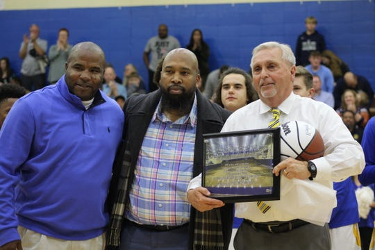 Fran Campbell was honored for his 600th win and recieved a court dedication before their game against Powdersville on December 15, 2019.