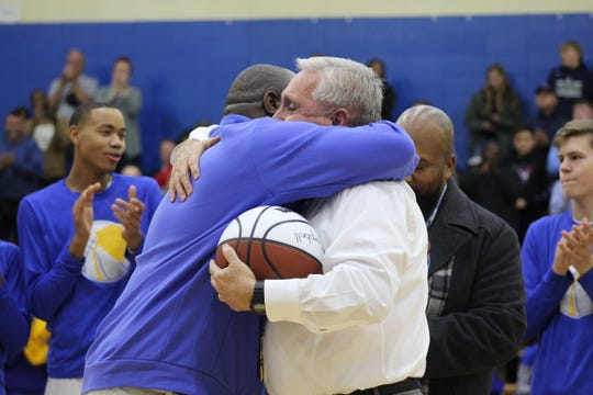 Fran Campbell was honored for his 600th win and received a court dedication before their game against Powdersville on December 15, 2019.