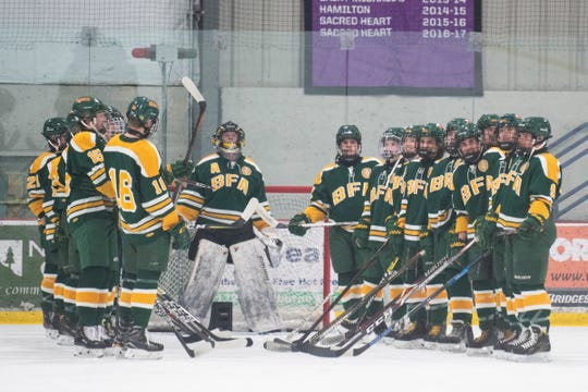 BFA waits for player introductions during the boys hockey game between the BFA St. Albans Bobwhites and the Rice Green Knights at Cairns Arena on Saturday night December 14, 2019 in South Burlington, Vermont.