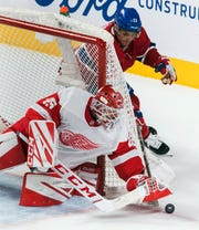 Max Domi moves in on Wings goalie Jonathan Bernier during the second period Saturday.