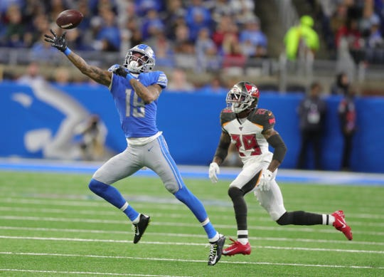 Lions wide receiver Kenny Golladay is defended by Buccaneers cornerback Ryan Smith during the first half on Sunday, Dec. 15, 2019, at Ford Field.