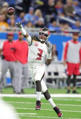 Tampa Bay Buccaneers quarterback Jameis Winston passes against the Detroit Lions during second half Sunday, Dec. 15, 2019 at Ford Field.