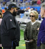 Lions owner Martha Firestone Ford, center, speaks with coach Matt Patricia before the game against Buccaneers on Sunday, Dec. 15, 2019, at Ford Field.