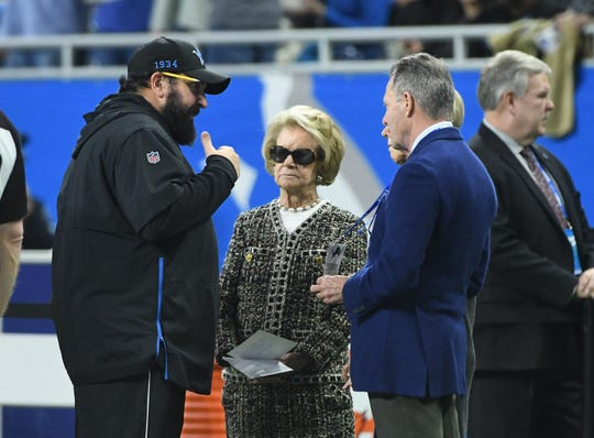 Lions head coach Matt Patricia talks with owner Martha Ford before the game against the Tampa Bay Buccaneers.