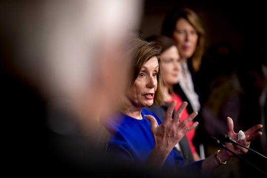 In this Dec. 10, 2019, photo, House Speaker Nancy Pelosi of Calif., speaks at a news conference to discuss the United States Mexico Canada Agreement (USMCA) trade agreement on Capitol Hill in Washington.