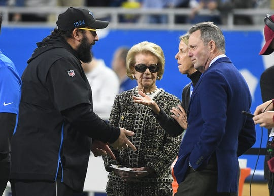 Lions head coach Matt Patricia talks with owner Martha Ford and vice chair Sheila Hamp before Sunday's game.