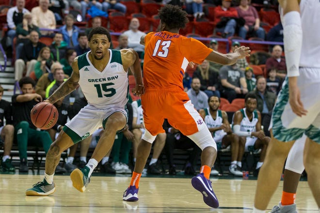 UWGB forward Manny Patterson had 10 points and 10 rebounds against Evansville on Saturday.